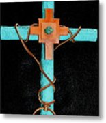 Leather And Stone Cross Metal Print