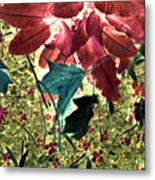 Leaves And Berries - Inversed Metal Print