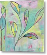 Leaves On Abstract Background Metal Print