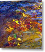 Leaves Underwater Metal Print
