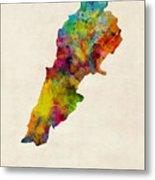 Lebanon Watercolor Map Metal Print