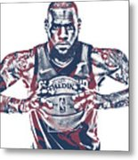 Lebron James Cleveland Cavaliers Pixel Art 54 Metal Print