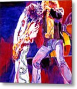 Led Zeppelin - Page And  Plant Metal Print by David Lloyd Glover