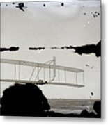 Left View Of Wilbur Gliding Kitty Hawk Lifesaving Station And Weather Bureau Buildings In Distance K Metal Print