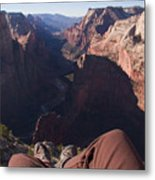Legs Dangle Over The Cliff Looking Metal Print