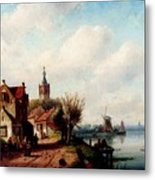 Leickert Charles A Village Along A River A Town In The Distance Metal Print