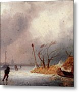 Leickert Charles A Winter Landscape With Skaters On A Frozen Waterway Metal Print