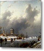 Leickert Charles Henri Joseph A Frozen Winter Landscape With Skaters Metal Print