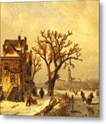 Leickert Charles Skaters In A Frozen Winter Landscape Metal Print
