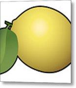 Lemon Fruit Outlined Metal Print