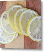 Lemon Slices On Cutting Board Metal Print