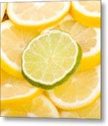 Lemons And One Lime Abstract Metal Print