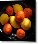 Lemons And Oranges On A Platter Metal Print