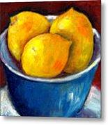 Lemons In A Blue Bowl Grace Venditti Montreal Art Metal Print
