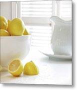 Lemons In Large Bowl On Table Metal Print