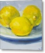 Lemons On A White Plate Metal Print