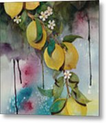 Lemons On Blue Metal Print