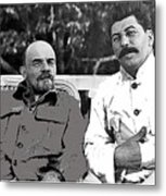 Lenin And Stalin Circa 1923 Color And Drawing Added 2016    Metal Print