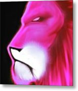 Leo Profile- Radiant Hot Pink Metal Print