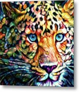 Leopard Cat Flowers Metal Print