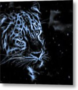 Leopard In The Darkness.  Metal Print