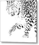 Leopard Spots Black And White Metal Print