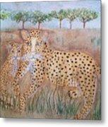Leopard With Cub Metal Print