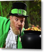 Leprechaun With Pot Of Gold Metal Print