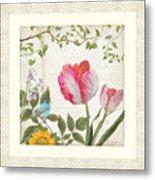 Les Magnifiques Fleurs I - Magnificent Garden Flowers Parrot Tulips N Indigo Bunting Songbird Metal Print