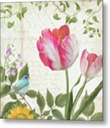 Les Magnifiques Fleurs IIi - Magnificent Garden Flowers Parrot Tulips N Indigo Bunting Songbird Metal Print
