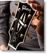 Les Paul - Hands And Gibson Headstock By Gene Martin Metal Print