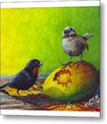 Lesser Antillean Bullfinches And Mango Metal Print