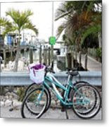 Let's Bike There Metal Print