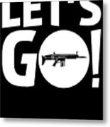 Lets Go Battle Royale Gaming Legendary Scar Rifle Birthday Gamer Gift T Shirt Metal Print