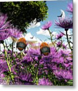 Two Bumblebees Discover The World Metal Print