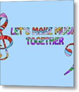 Let's Make Music - Blue Metal Print