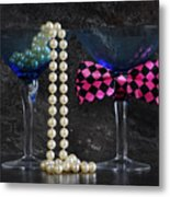 Lets Party Vintage Blue Martini Glasses On Black Sla Metal Print
