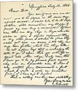 Letter From Abraham Lincoln To Alden Metal Print