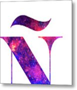 Letter Galaxy In White Background Metal Print