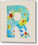 Letter R Roman Alphabet - A Floral Expression, Typography Art Metal Print