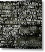 Letters And Numbers Grey On Black Metal Print