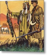 Lewis And Clark Expedition Scene Metal Print