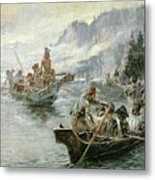 Lewis And Clark On The Lower Columbia River Metal Print