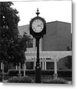 Lewis University Clock In Black And White Metal Print