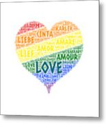 Lgbt Rainbow Hearth Flag Illustrated With Love Word Of Different Languages Metal Print
