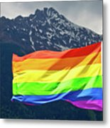 Lgbtq Rainbow Flag With Snowy Mountain Background View Metal Print