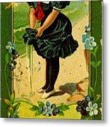 Libbys Bookmark Vintage With Girl On Beach Metal Print