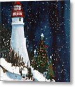 Liberty - Christmas at the Lighthouse Metal Print