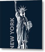 Liberty, New York, Popart Metal Print