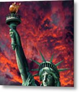 Liberty On Fire Metal Print